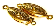 2pc Box Clasp Gold Plated Oval Weave