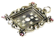 1pc silver plated photoframe swirls w/pink rhinestones