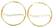 1pr gold plated hoop earring bases wave 9 hole