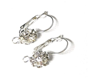 1pr Hinged Earring Wires with Rhinestone flower silver plated