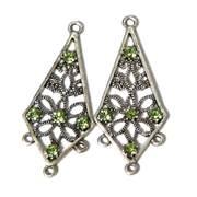 1pr Antique Silver Rhinestone Drop Peridot Green 40x16mm