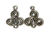 1pr Antique Silver Flat Swirl 14mm