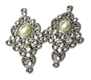 1pr Antique Silver Rhinestone Pearl Drops 45x27mm