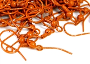 10pr coloured earring wires orange w/loop + ball