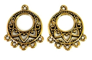 1pr pewter chandilier earring drops hearts antique gold