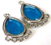 1pr blue faceted resin drops silver teardrop 21x14mm