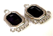 1pr purple faceted resin drops silver rectangle 21x14mm
