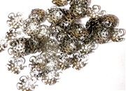 25pc Filigree Swirl Beadcaps Silver Plated 10mm