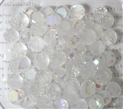 12pc Faceted Crystal Rounds 8x5mm Clear Frosted AB
