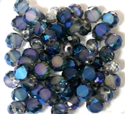 12pc Faceted Crystal Rounds 8x5mm Bermuda Blue