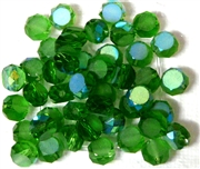 12pc Faceted Crystal Rounds 8x5mm Green