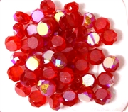 12pc Faceted Crystal Rounds 8x5mm Siam Red