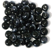 15pc 6mm Glass Rondelle Jet Black Lustre