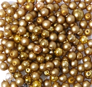 50pc 4mm Assorted Glass Pearls Topaz Gold Mix