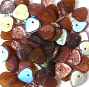 10pc 6mm Glass Heart Leaves Brown Assorted