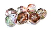 2pc czech glass firepolish round brown pink luster 12mm