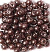 25pc 6mm Glass Pearls Coffee and Cream