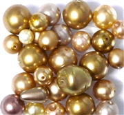 10pc 6-16mm Assorted Glass Pearls Topaz
