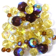 25pc 6-8mm Glass Firepolish Rounds Topaz Mix