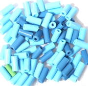 10gm Glass Bugle Beads Blue Mix