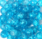 10pc 8mm Glass Crackle Rounds Aquamarine Blue
