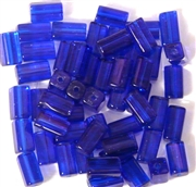 15pc 8x4mm Glass Rectangle Tubes Cobalt Blue