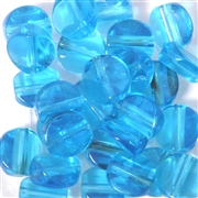10pc 12mm Glass Faceted Coin Aquamarine Blue