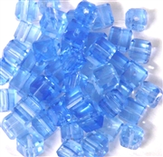 10pc 6mm Faceted Cubes Sapphire Blue