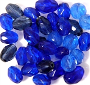 15pc 10mm Firepolish Ovals Blue Mix