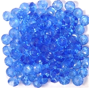 50pc 6mm Faceted Glass Saucer Sapphire Blue