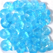 15pc 8mm Faceted Glass Saucer Beads Aquamarine Blue