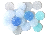 10pc 15mm Flower Beads Milky Blue Mix