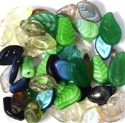 10pc Assorted Glass Leaf Mix Brown/ Green