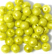 10pc 8mm Glass Sugar Pearls Lime Green