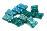 10pc teal ab czech glass butterflies 8x12mm