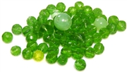 20pc czech glass faceted rounds green