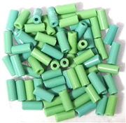 10gm bugle bead mix green assorted