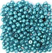 50pc 4mm Glass Pearls Teal Green
