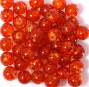 10pc 8mm Glass Crackle Rounds orange
