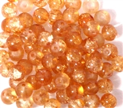 25pc 6mm Glass Crackle Rounds light orange