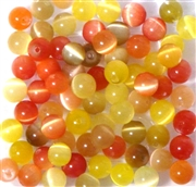 10pc 6mm Glass Cats Eye Mix Yellow Orange