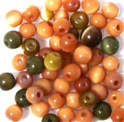 10pc 6mm Glass Cats Eye Rounds Orange Mix