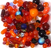 50pc 4-6mm Assorted Glass beads Red Orange Mix