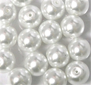 6pc 14mm Glass Pearls White