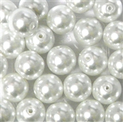 8pc 10mm Glass Pearls White