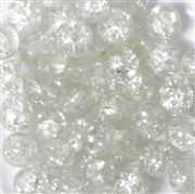 10pc 8mm Glass Crackle Rounds Clear Crystal