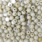 50pc 4mm Glass Rounds Assorted White