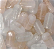 10pc 15x6mm Indian Glass Swirl Rectangles White Assorted