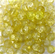 25pc 6mm Glass Crackle Rounds Yellow