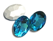 2pc Glass Crystal Stone Oval Medium 29x21mm Aqua Blue